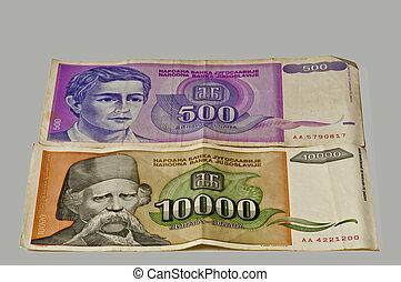 vroegere, geld, van, joegoslavië