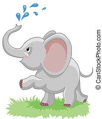 vrolijk, baby olifant
