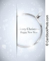 vrolijk, bal, snowflakes, -, kerstmis, vector, sterretjes, jaar, nieuw, zilver, vrolijke