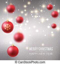 vrolijk, bauble, begroetende kaart, kerstmis