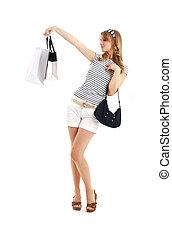 vrolijk, blonde , met, het winkelen zakken