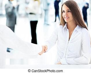 vrolijk, businesswoman, businesspeople, klant, handshaking
