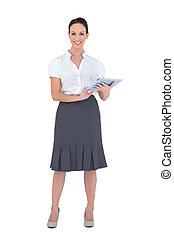 vrolijk, businesswoman, vasthouden, tablet, computer