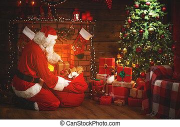 vrolijk, claus, boompje, kadootjes, kerstman, christmas!, openhaard