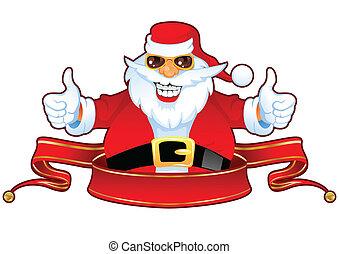 vrolijk, claus, zonnebrillen, kerstman