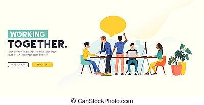 vrolijk, collega's, aan het werk aaneen, teamwork, concept