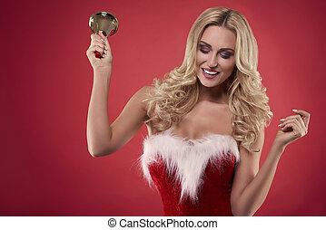 vrolijk, dancing, kerstman, klok