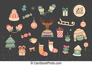 vrolijk, elements., verzameling, kerstmis