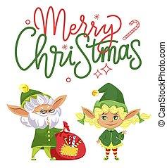 vrolijk, elves, kadootjes, het bereiden, geitjes, kerstmis