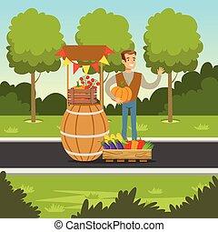 vrolijk, farmer, man, het verkopen, groentes, op, de, toonbank, gemaakt, van, houten vat, met, pompoen, in, zijn, handen, lokale markt, landbouw, en, landbouw, vector, illustratie