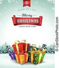 vrolijk, feestdagen, begroetende kaart, kerstmis