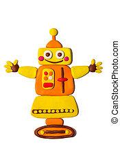 vrolijk, gele, plasticine, robot, vrijstaand, op, een, witte , achtergrond.