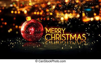 vrolijk, goud, bokeh, kerstmis, rood