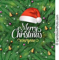 vrolijk, hoedje, kerstmis, kerstman, begroetenen