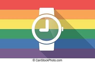 vrolijk, horloge, lang, vlag, pols, schaduw, trots