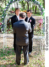 vrolijk, huwelijk, in de tuin