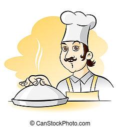 vrolijk, illustratie, cook, kok, vector, spotprent