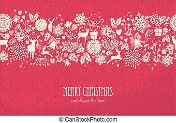 vrolijk, jaar, nieuw, kerstmis kaart, vrolijke