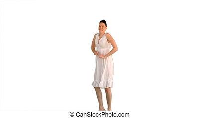 vrolijk, jonge vrouw , in, witte kleding