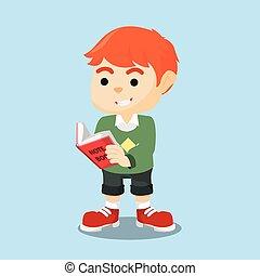 vrolijk, jongen lees, boek