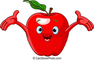 vrolijk, karakter, spotprent, appel