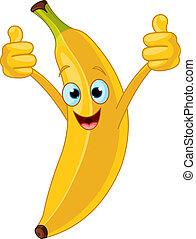 vrolijk, karakter, spotprent, banaan