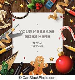 vrolijk, kerstman, wensen, claus, lijst, brief, kerstmis