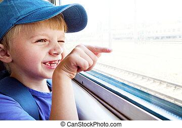 vrolijk, kind, in, de, trein