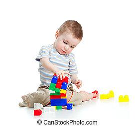 vrolijk, kind jongen, spelend, met, gebouw stel, op, witte ,...