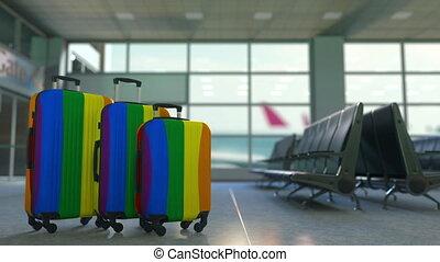 vrolijk, koffer, flag., reizen, paspoortcontrole, lgbt, animatie, conceptueel, trots, toerisme, of
