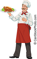 vrolijk, kok, -, illustratie