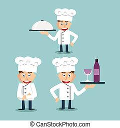 vrolijk, kok, youngerl, -, illustratie