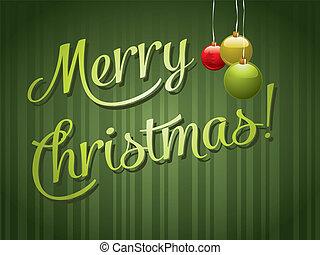 vrolijk, lettering, kerstmis kaart, groet