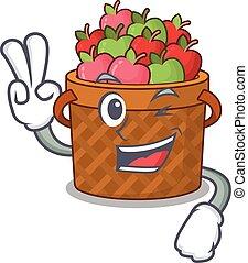 vrolijk, mand, vingers, appel, ontwerp, twee, mascotte