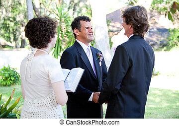 vrolijk, minister, trouwfeest, -, vrouwlijk