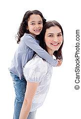 vrolijk, moeder, geven, haar, dochter, ritje op de rug rit