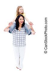 vrolijk, moeder, geven, ritje op de rug rit, om te, haar, dochter