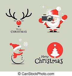 vrolijk, ontwerp, kerstmis, verzameling, vrolijke
