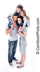 vrolijk, ouders, geven, hun, kinderen, ritje op de rug rit