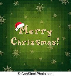 vrolijk, ouderwetse , kerstmuts, kerstmis kaart