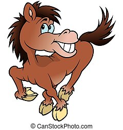 vrolijk, paarde