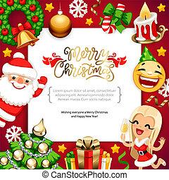 vrolijk, ruimte, achtergrond, kopie, kerstmis, rood