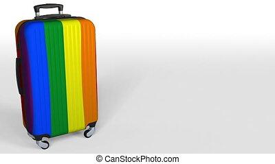 vrolijk, ruimte, animatie, flag., koffer, onderschrift, leeg, conceptueel, trots, 3d
