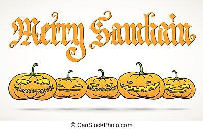 vrolijk, samhain, begroetende kaart