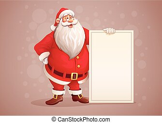 vrolijk, santa claus, staand, met, kerstmis, begroetenen, spandoek, in, arm