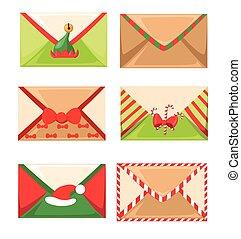 vrolijk, sneeuw, wensen, claus, lijst, s, illustratie, brievenbus, kerstman, year., vector, brief, nieuwe post, kerstmis, vrolijke