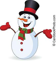 vrolijk, sneeuwpop