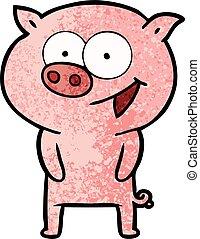 vrolijk, spotprent, varken