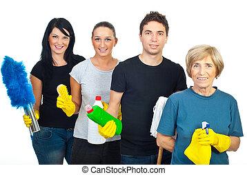 vrolijk, team, van, poetsen, mensen