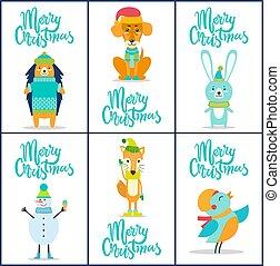 vrolijk, vector, illustratie, verzameling, kerstmis